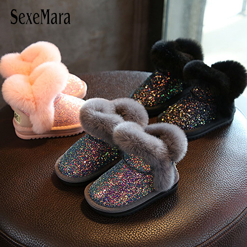 Fashion Sequined children's shoes for girls 2018 Keeping Warm Mid-calf Winter Boots Kids Real Fur Toddler Snow Boots Baby B08281 цена