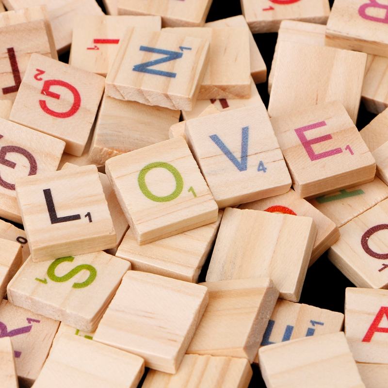 100Pcs/Pack Wooden Scrabble Tiles Colorful Letters Numbers for Crafts Wood Alphabet Toy W215