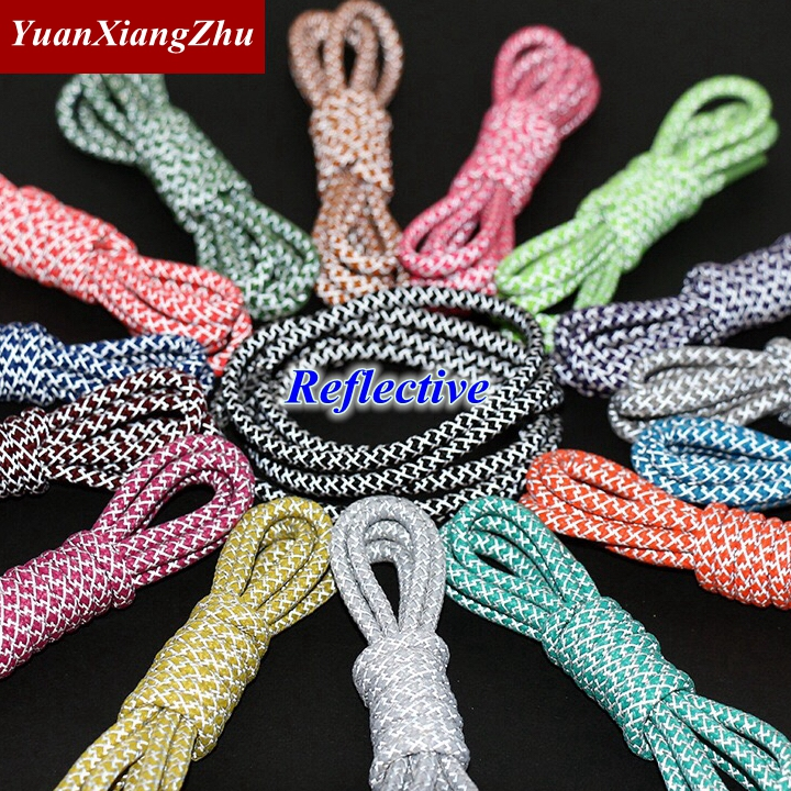 1Pair Fluorescent Sneaker Shoestrings Sport Shoelaces 3M Reflective Round Rope Shoe Laces Length 100/120/140/160CM Shoelaces Led