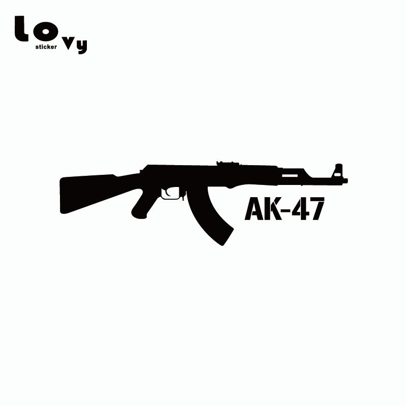 KALASHNIKOV AK-47 Vinyl Car Sticker Cartoon Gun Car Decal for Car Window Door Body Decoration Car-styling CA0337