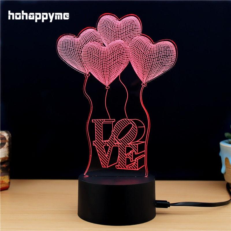 Led Sign Home Decor: Love Heart 3D LED Light Sign Acrylic LED Sign Home Decor