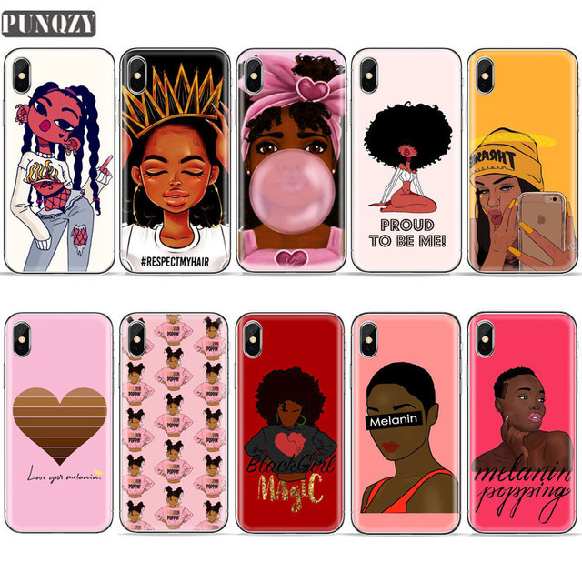 super popular 67dfc ac04b US $1.0 43% OFF|Black Girl Magic rock Melanin Poppin Queen phone Case For  iPhone 6S 7 8 Plus 4S 5S SE X XR XS MAX Women Silicone Soft TPU Cover-in ...