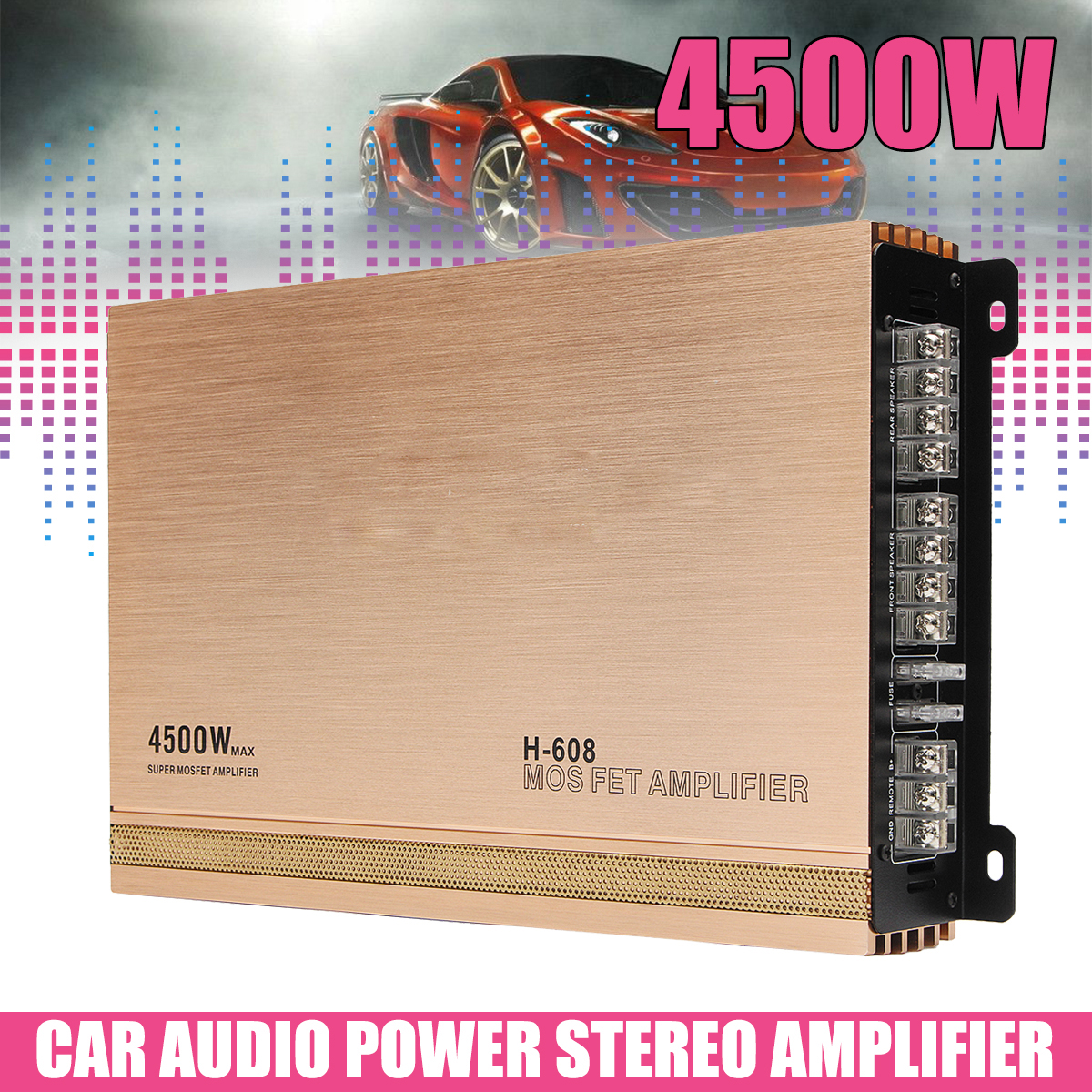 12V 4 Channel Auto Car Audio Amplifiers 4500W Hifi AMP Audio Power Stereo Amplifiers Speaker Subwoofers for Car Truck Motorcycle black 12v car amplifier high power 1900w audio 4 channel 4 way amplifiers booster auto free shipping dropping