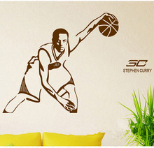 Free shipping diy wallpaper Basketball superstar Stephen Curry wall stickers Home Decoration mural Sticker