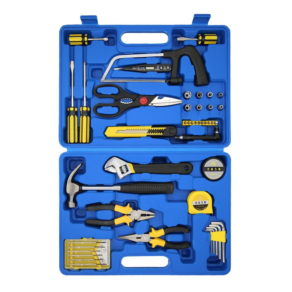 45-in-1 Hand Tool Set Saw Screwdriver Hammer Pliers Utility Knife Measuring Tape Wrench Multifunctional Tool Kit TM-2096 Quality jumpro mother s day gift 77pc ladies tools pink tool set home tool hammers pliers knife screwdrivers wrenches tapes hand tool