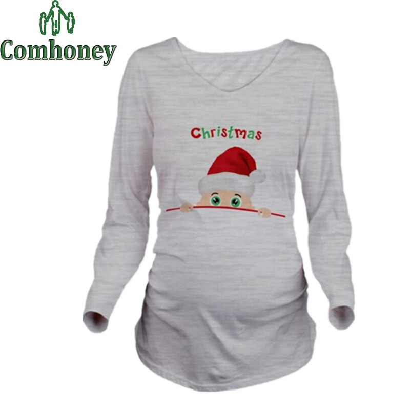 Popular christmas maternity clothes buy cheap christmas for Funny christmas maternity t shirts
