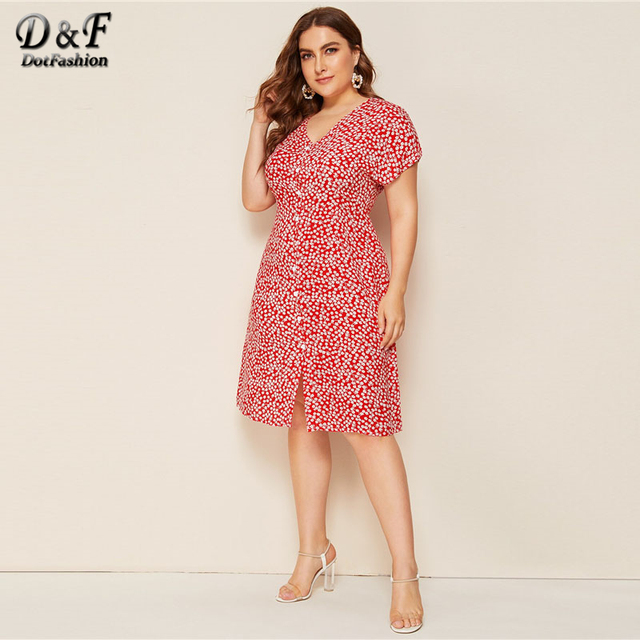 Dotfashion Plus Size V Neck Button Up A Line Dress Women 2019 Summer Short Sleeve Midi Dresses Ladies Floral Print Dress 2