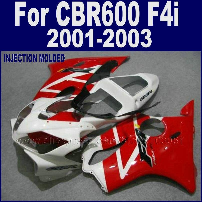 7 gifts motorcycle fairings set for Honda CBR 600 F4i 01 02 03 cbr 600 f4i 2001 2002 2003 white red aftermarket fairing body kit