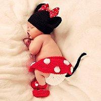 אבזרי תמונה שזה עתה נולד תינוק סגנון עכבר מצויר חמוד תינוקת Boy הסרוגה כפת כובע בגדי אבזרים לתינוקות תמונה 5SY06