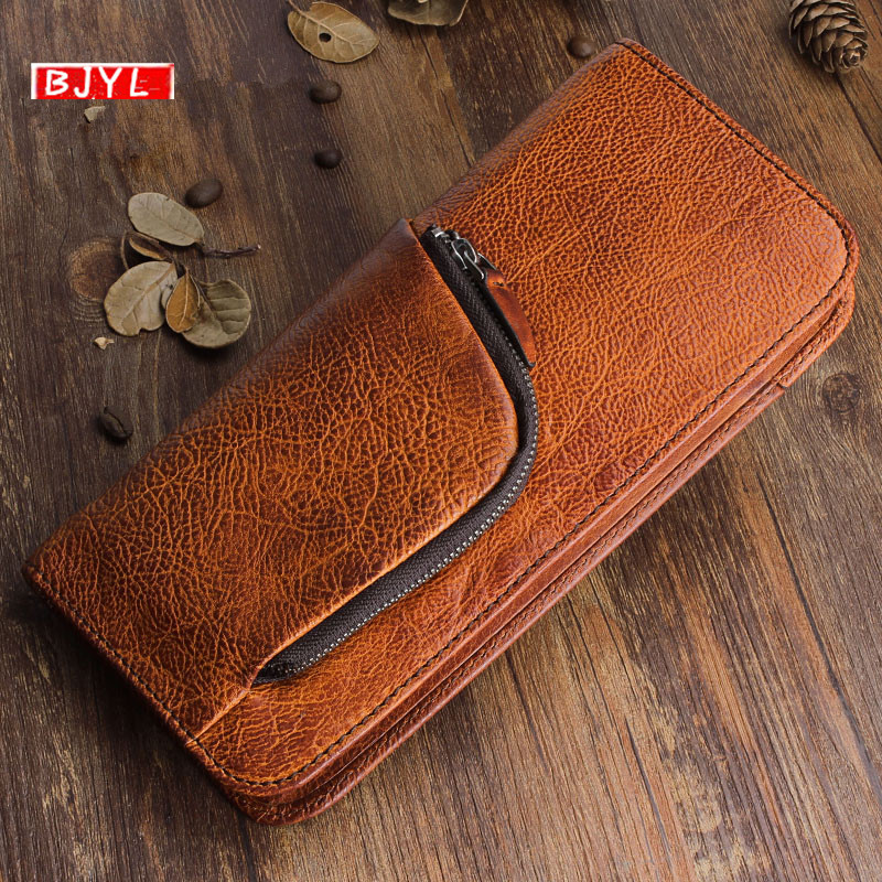 BJYL Original retro first layer of leather Men long wallet multi-function zipper leather handbags young men Vintage card walletBJYL Original retro first layer of leather Men long wallet multi-function zipper leather handbags young men Vintage card wallet
