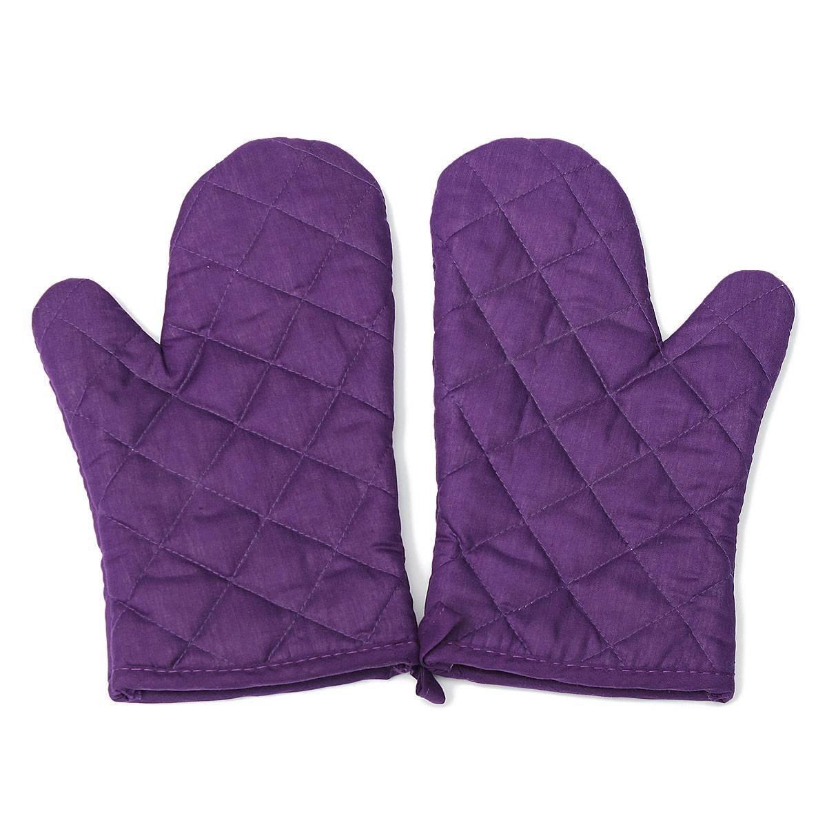 1 pair kitchen craft heat resistant cotton oven glove pot holder baking cooking mitts purple christmas decoration