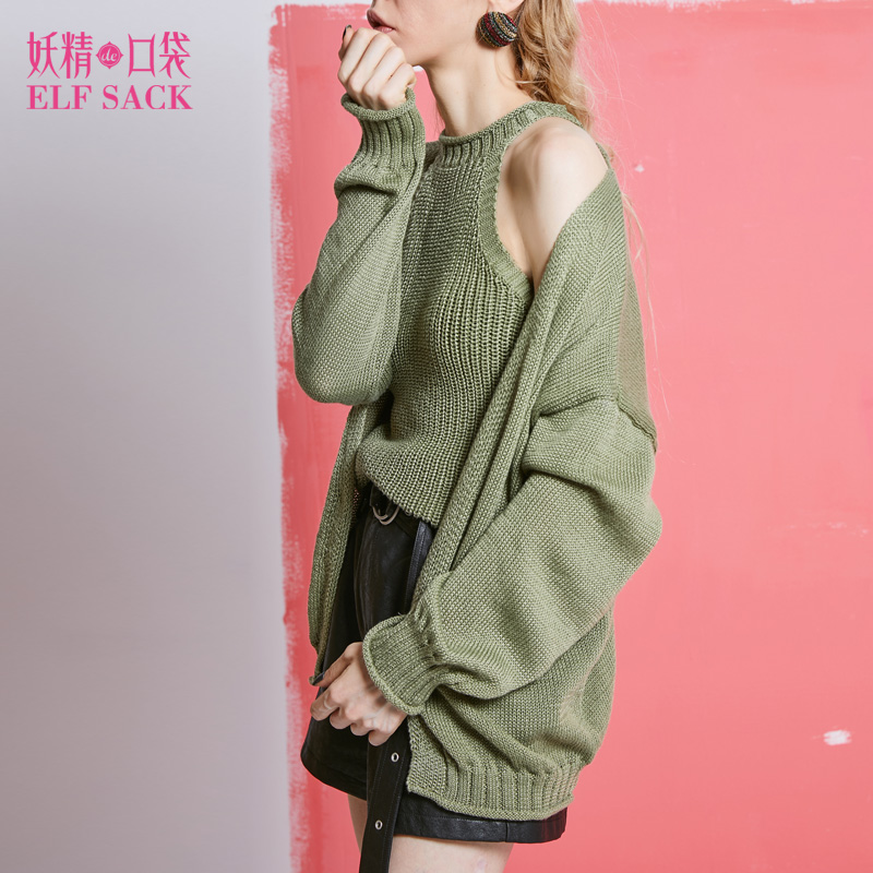 ELF SACK 2018 Spring Women Cardigans Two Pieces Off-Shoulder Knitted Sweater with Long Sleeve Loose Casual Cardigans O-Neck Sexy