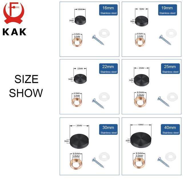 4Set//Bag KAK Glass Fastener Stainless Steel Advertising Screws Mirror Nails