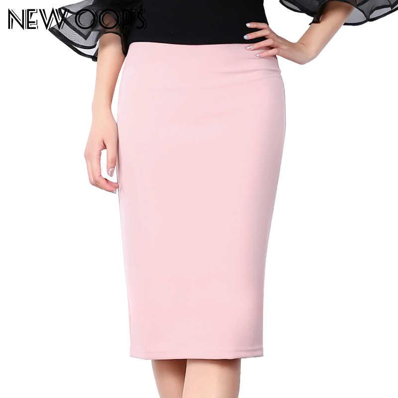 6049dd6145 NEW OOPS Casual Summer Chiffon Multi Color Midi Skirts 2018 Sexy Elastic High  Waist Slim Office