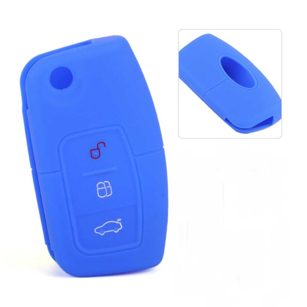 Black 3 Button Remote Key Fob Case Shell Silicone Cover Fit Ford MK2 Mondeo Kuga