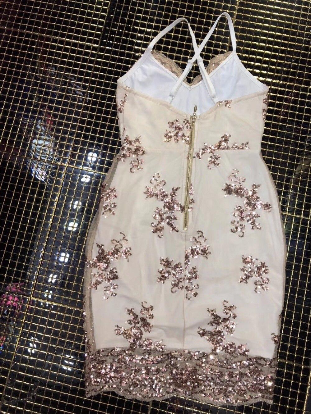 Elegante Strap Shimmer Mini All'ingrosso Maglia Spaghetti Celebrity Abbellito Chic Vestito Sexy Donne Paillettes U5dF1wCU4q
