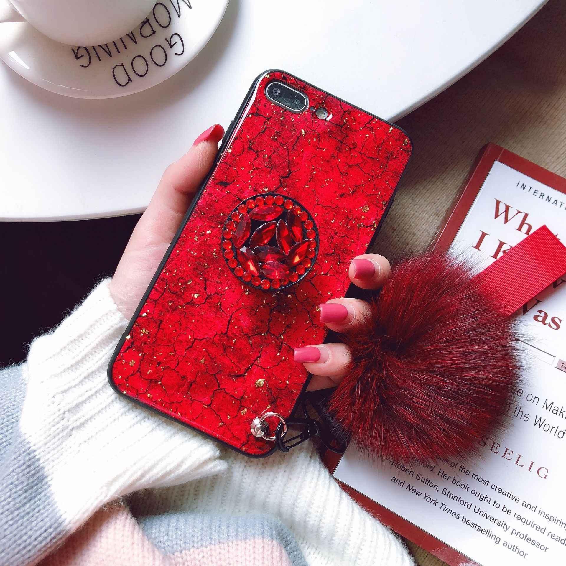Мраморная 3D блестящая подставка с бриллиантами волосы мяч ремешок чехол для iphone XS XR 6 7 8 plus телефон чехол для redmi S2 xiaomi 8 9 9se
