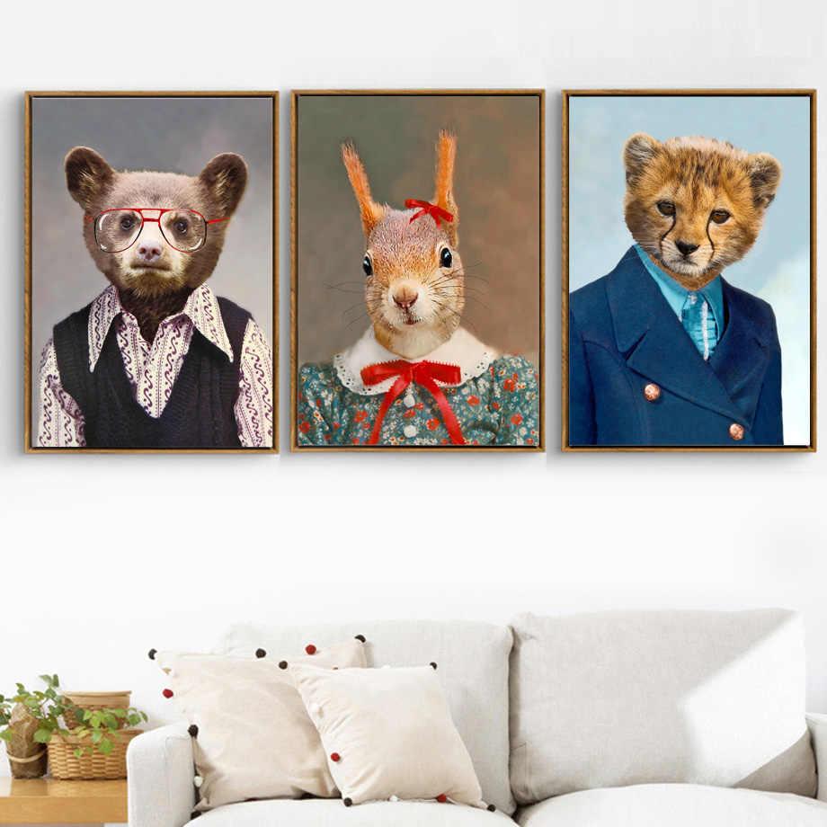 Nordique ours lapin léopard animaux abstraits affiches et impressions mur Art toile peinture mur photos pour salon enfants décor