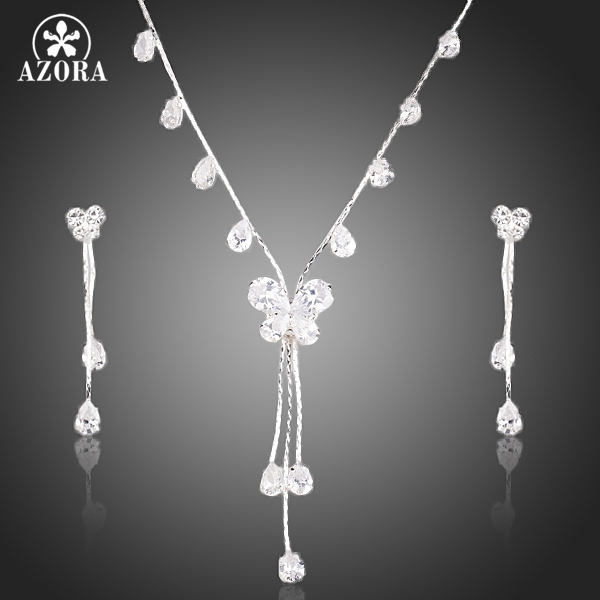 AZORA Clear Butterfly Cutting Cubic Zirconia Necklace and Drop Earrings Jewelry Sets TG0140
