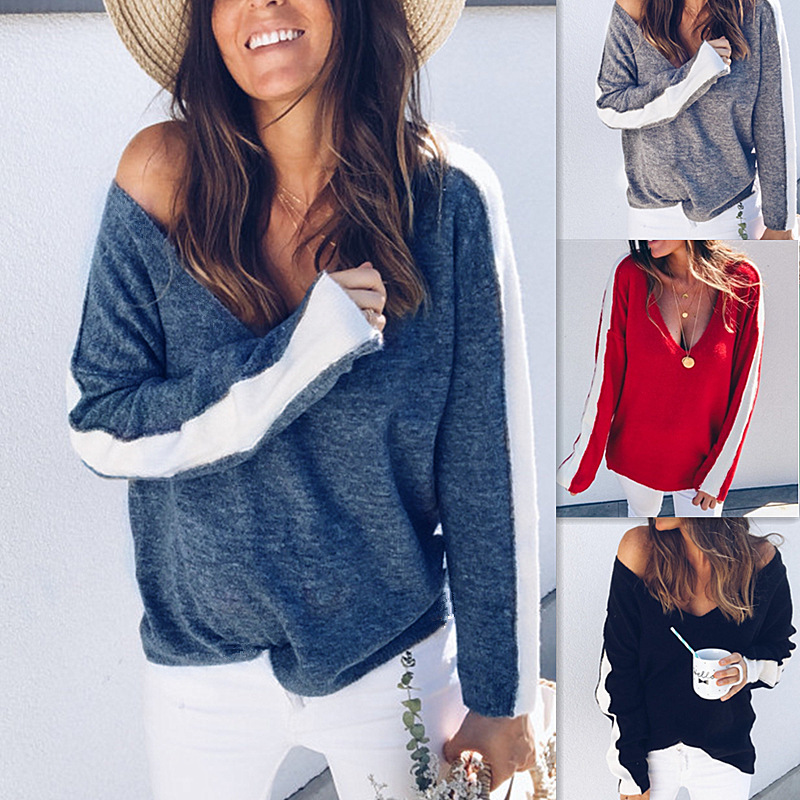 Sweater Women Autumn Deep V Neck Casual Loose Striped Sexy Sweater Women Tops Winter Long Sleeve Knitted Jumper Pull Femme Hiver