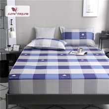 Slowdream 1PCS Square Lattice Nordic Bed Sheet On Elastic Band Fitted Mattress Covers Double Single Size Linen