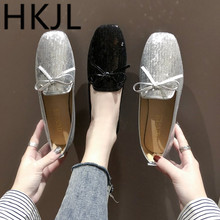 HKJL Spring 2019 new student bow boat shoes with low heels and web celebrity flat flats for women A269