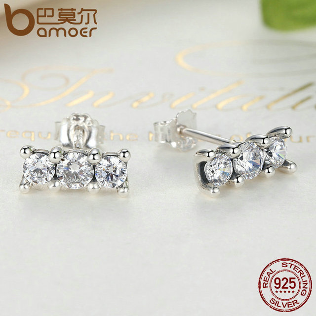 Sterling Silver Sparkling Elegance Stone Stud Earrings