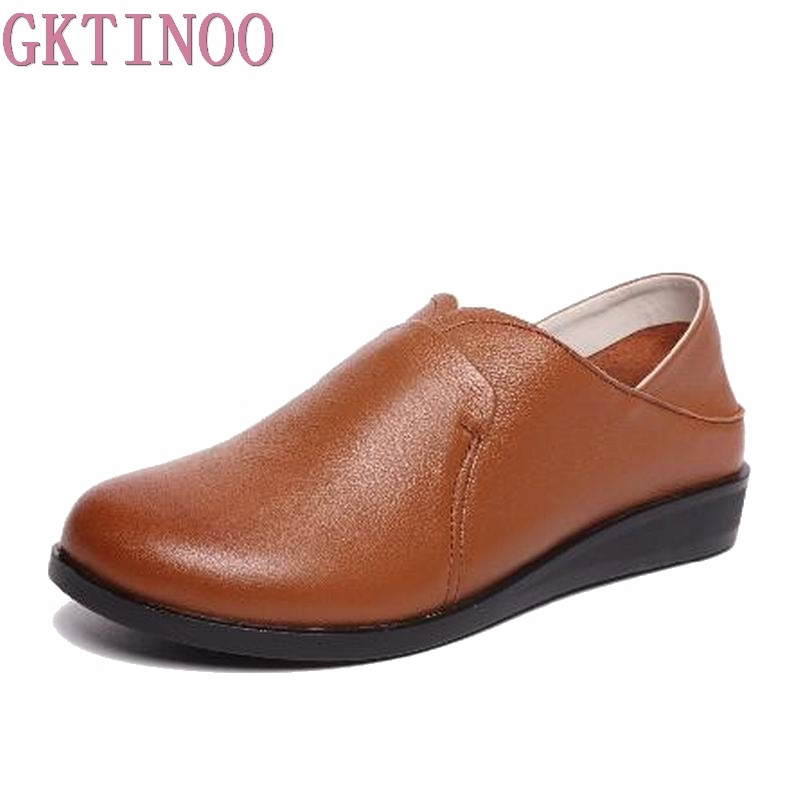GKTINOO Womens Flats New Moccasins Women Genuine Leather Shoes Mother Loafes Soft Shoes Woman Soft Sole Ballet Flats Plus Size