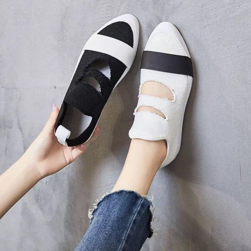 Weiches Mund Schuhe weiß Sohlen Schwarzes Neue Beiläufiger Schuhe 2018 Flach Hohl Breathable pTxw7X