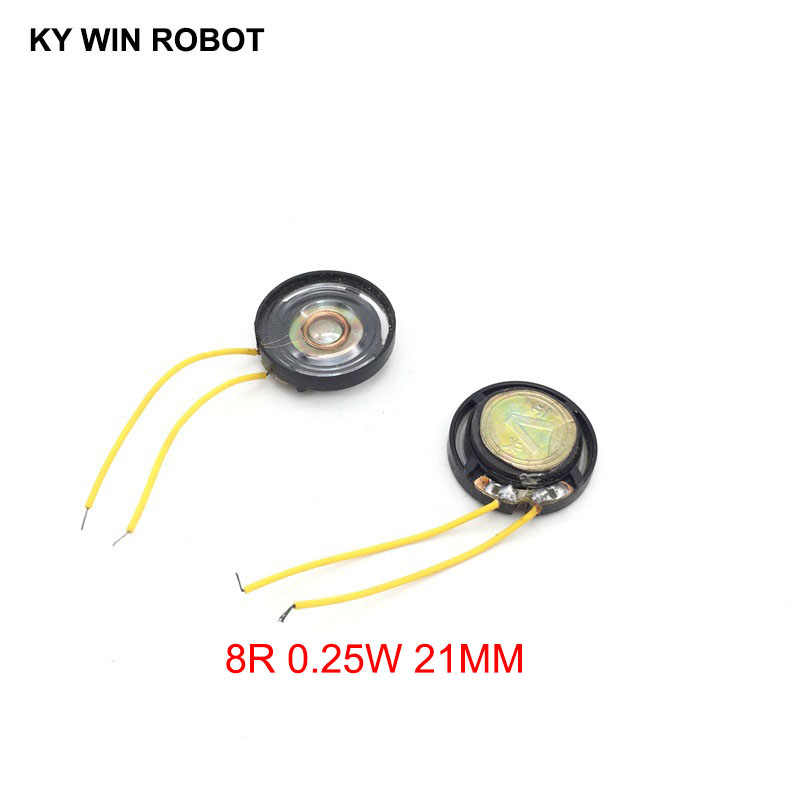 2pcs/lot New Ultra-thin Toy-car horn 8 ohms 0.25 watt 0.25W 8R speaker Diameter 21MM 2.1CM With Wire