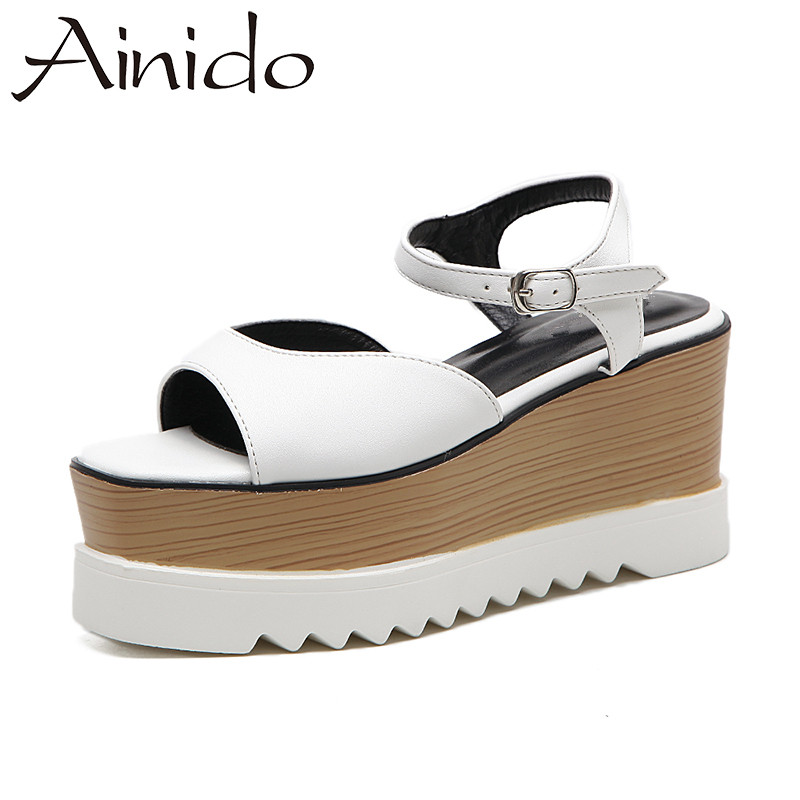 AINIDO Fashion Summer Shoes Woman Casual Thick Wedges Platform Sandals Women Black White Buckle High Heels woman fashion high heels sandals women genuine leather buckle summer shoes brand new wedges casual platform sandal gold silver