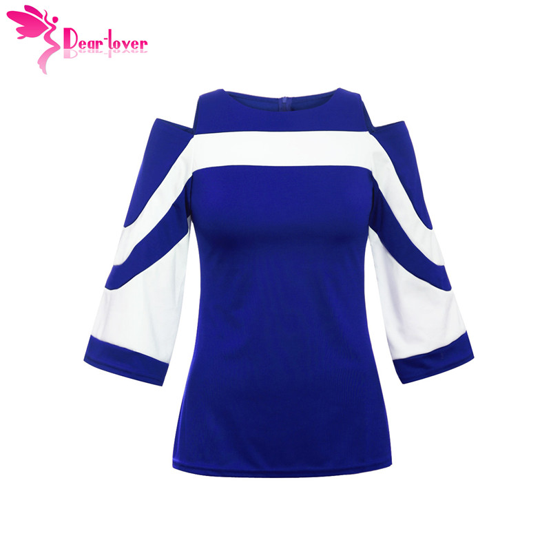 e77699a7f47 DearLover Women Blouse Black White Colorblock Bell Sleeve Cold Shoulder Top  Mujer Camisa Feminina Office Ladies Clothes LC250605-in Blouses   Shirts  from ...