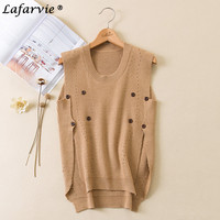 Lafarvie New Casual Spring Autumn Cashmere Blended Vest O Neck Sleeveless Tie Button Front Short Back