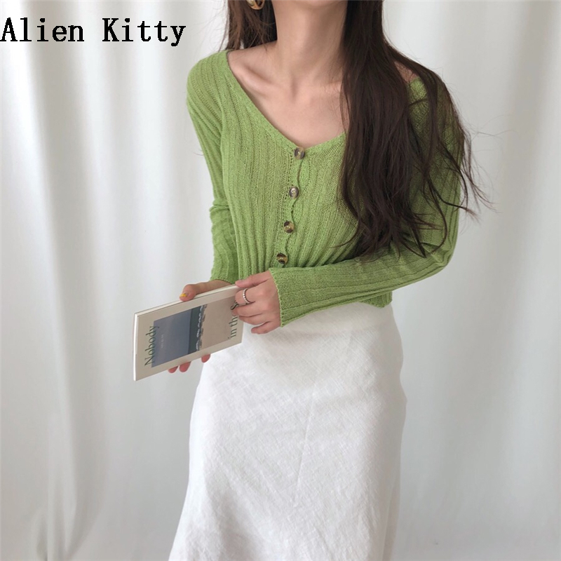 KF/_ Women/'s Solid Cross V-Neck Waist Strap Knitted Long Sleeve Sweater Top New