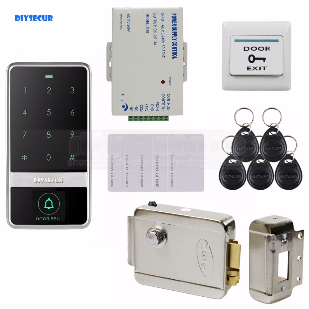DIYSECUR 125KHz RFID Reader Touch Panel Password Keypad Door Access Control Security System Kit diysecur metal case touch button 125khz rfid card reader door access controller system password keypad c20
