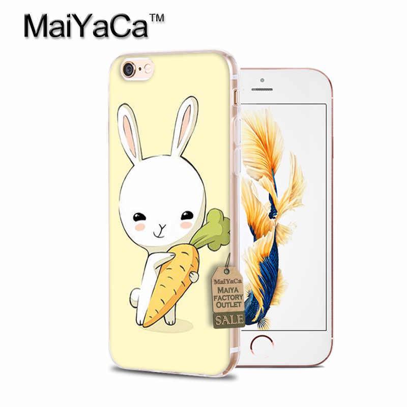 MaiYaCa śliczne białe rabbit posiłki marchew miękkie etui z TPU na telefon pokrywa dla iPhone X 6 6 s 7 7 plus 8 8 Plus 4 4S 5 5S 5C etui coque