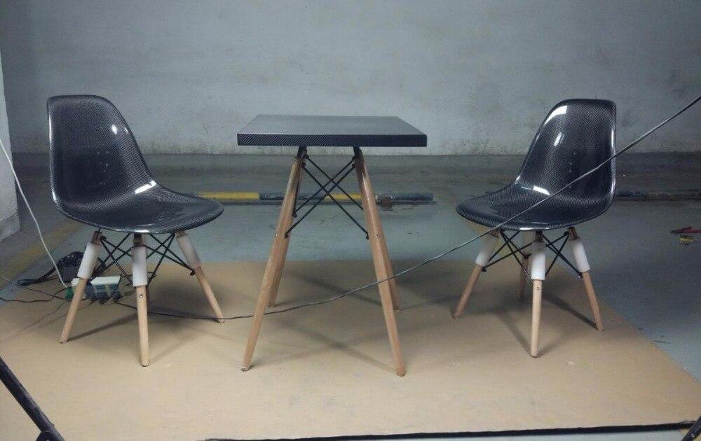 Глянцевая поверхность углерода Волокно Кофе стол с деревянной ногой Волокна Площади стол Universal применимость Мебельная фурнитура стайлинга