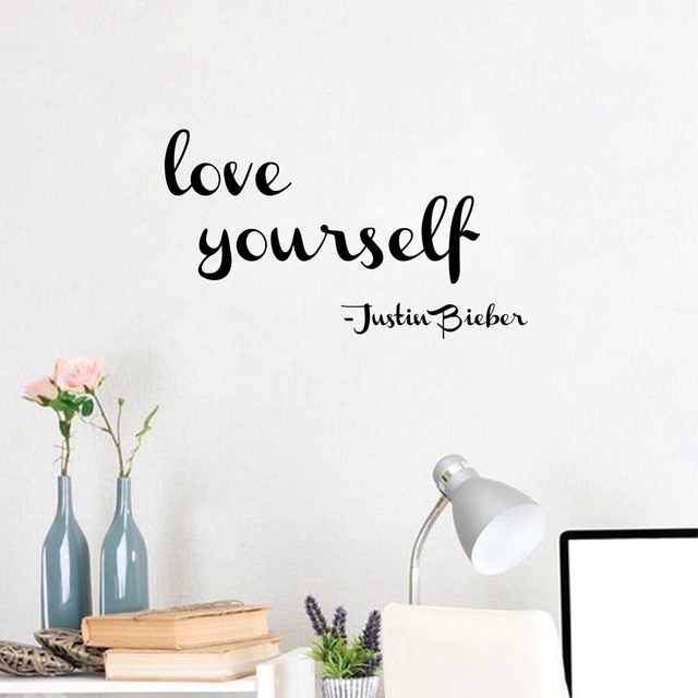 Free Shipping Love Yourself Justin Bieber Girls Room Wall - Wall decals girls room