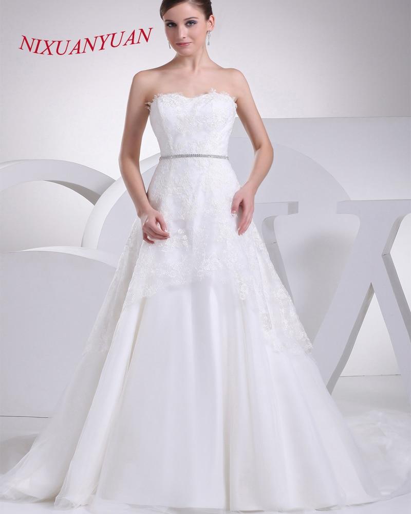 Nixuanyuan Новинка 2017 года Элегантный Аппликации линии невесты свадебное платье Белый Кружево свадебное платье 2017 дешевые Vestido De Noiva с поясом