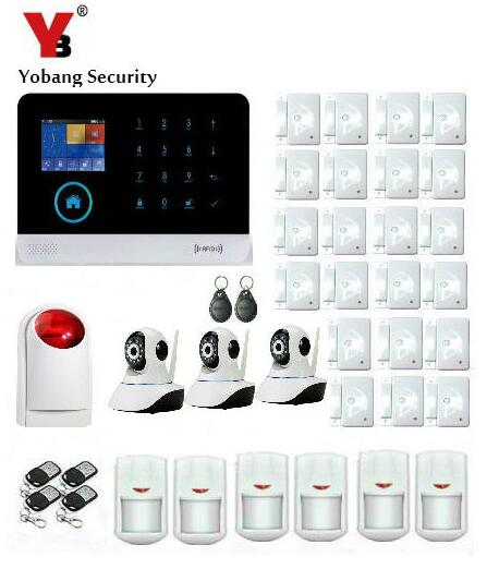 YoBang Security Wireless Home Security Intruder Alarm System Suite WIFI WCDMA 3G Android IOS APP 433MHZ Sensor Video IP Camera. smartyiba wireless wifi gsm alarm system android ios app alarm home security intruder alarm kits video ip camera relay output