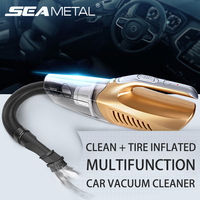 Car Cleaner Vacuum 12V Tire Inflated LED Light 100W Multifunction Clean Wet Dry Dust Automobile Tool