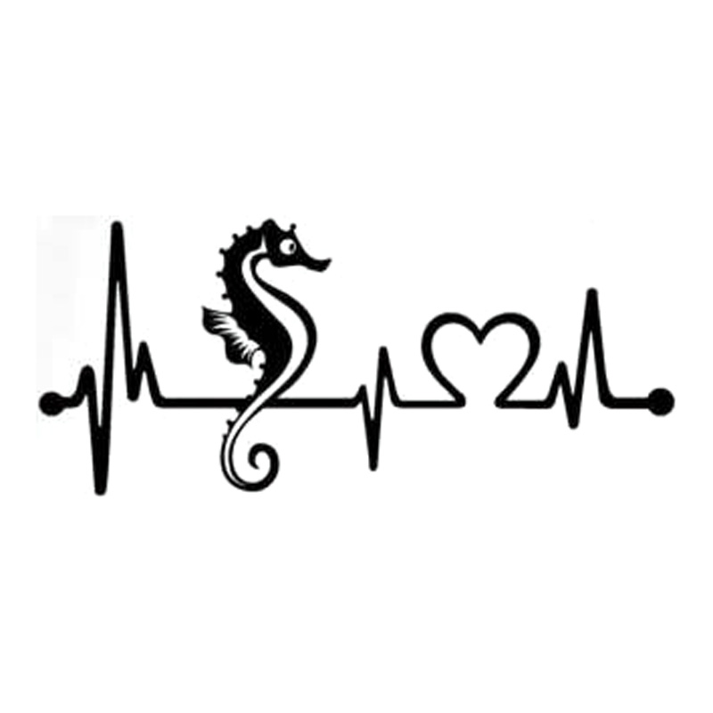 20.3cm*8.9cm Seahorse Heartbeat Lifeline Car Sticker Decor Decals Vinyl Black/Silver S3-4978
