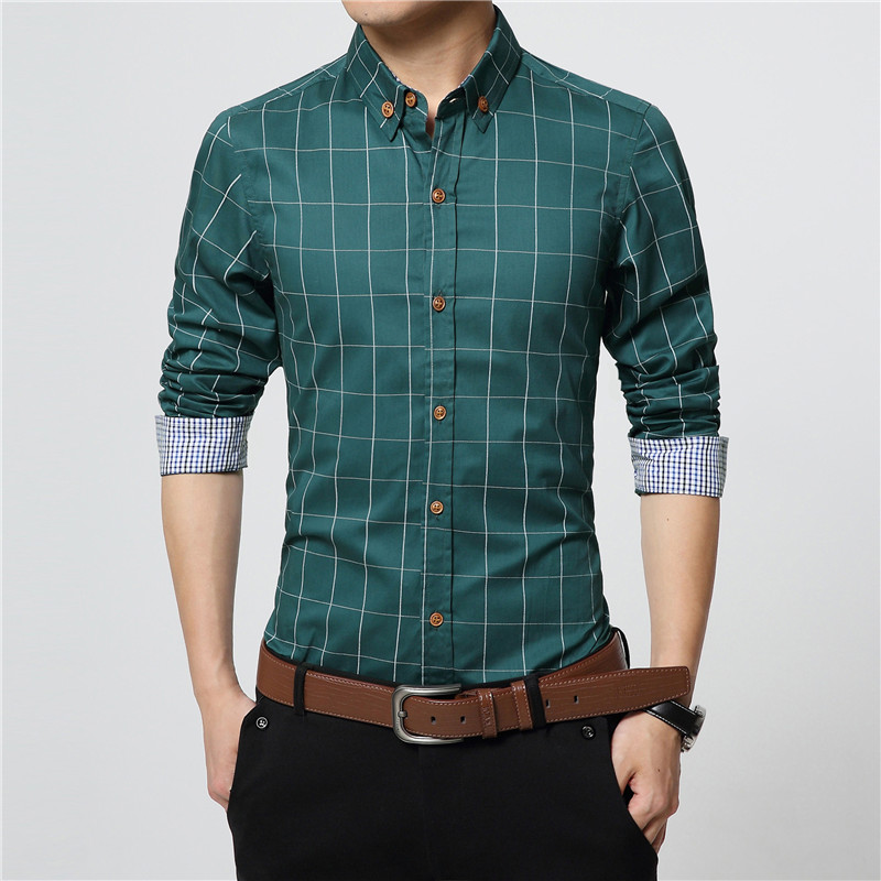 ERIDANUS 2017 Men's Plaid Cotton Dress Shirts Male High Quality Long Sleeve Slim Fit Business Casual Shirt Plus Size 5XL M433 5