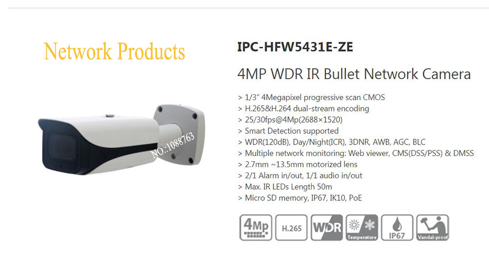 Free Shipping DAHUA Security Outdoor Camera 4MP WDR IR Bullet Network Camera with POE without Logo IPC-HFW5431E-ZE bullet camera tube camera headset holder with varied size in diameter