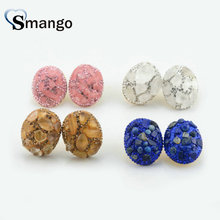 3 Pairs,The Shape of Oval Crystal Earrings for Women,Fashion Design.Four Colors Can Mix
