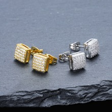 Cubic Zircon Square Stud Earring For Men & Women Hip Hop Fashion Jewelry Iced Out Bling Earrings Pave CZ Big Cube Shape