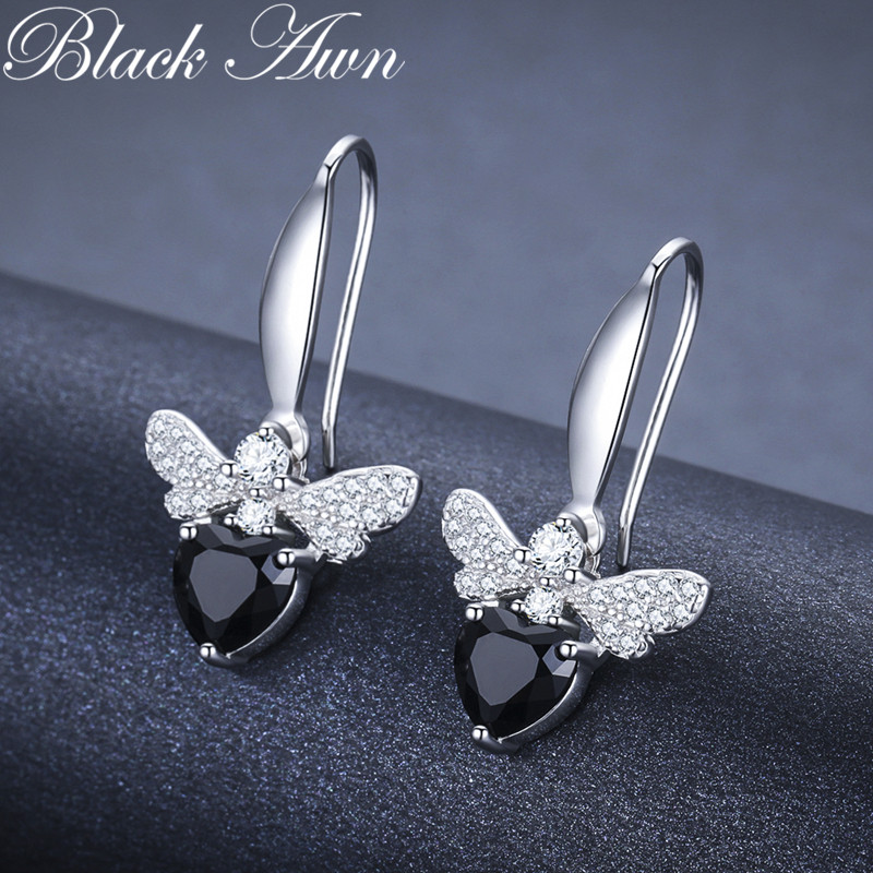 Black Awn Trendy 2.5g 925 Sterling Silver Earring Black Spinel Anniversary Butterfly Drop Earrings for Women Fine Jewelry I089