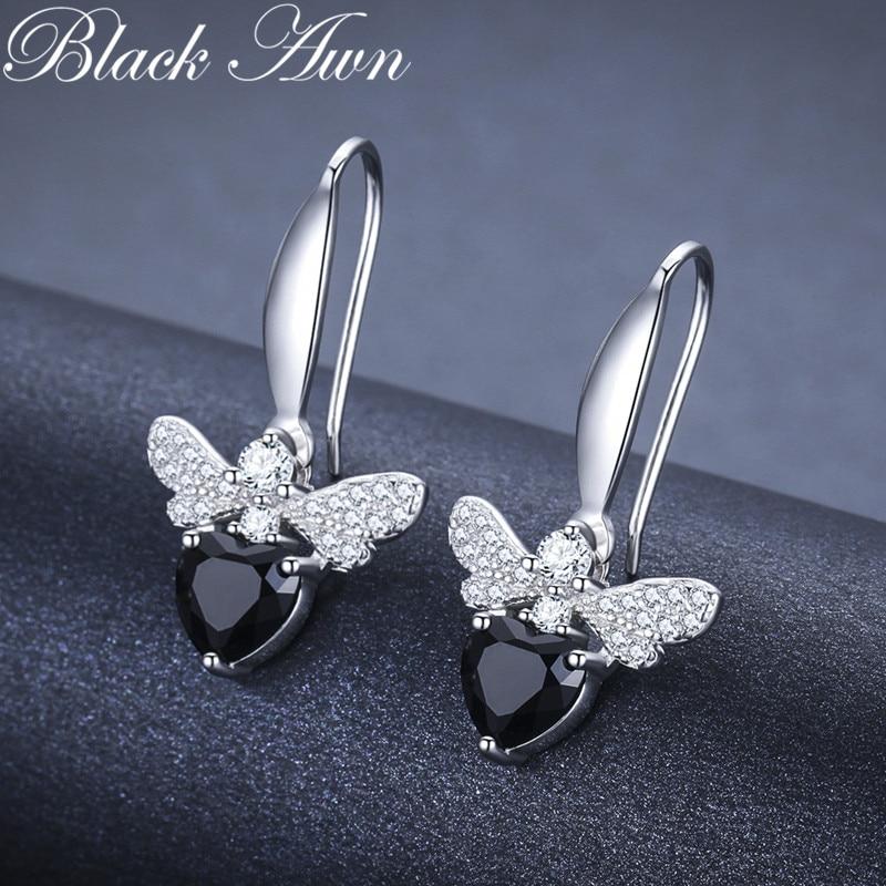 Black Awn Trendy 2.5g 925 Sterling Silver Earring Black Spinel Anniversary Butterfly Drop Earrings for Women Fine Jewelry I089