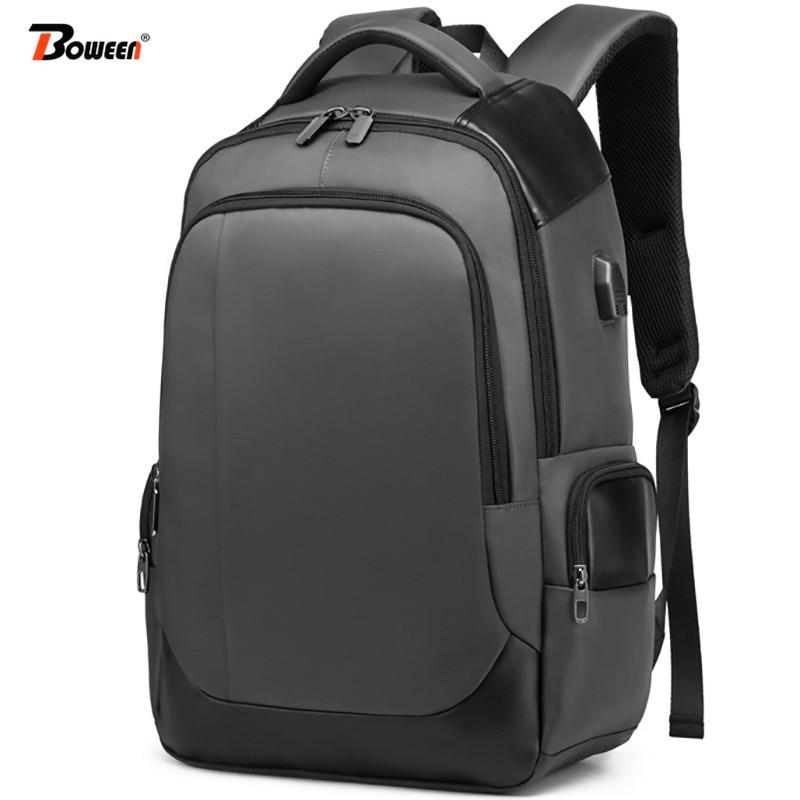 large waterproof nylon backpack men school bags for teenage boy charging USB black schoolbag University high