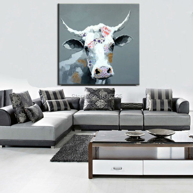 Stretched Canvas Oil Paintings Interior Decoration Animal Abstract  Paintings Cattle Canvas Wall Decorations For Living Room